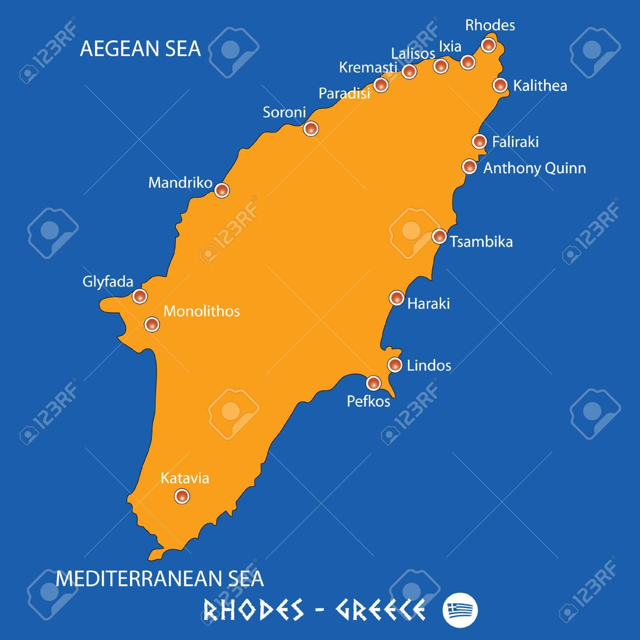 Rhodes Island Greece Map.Island Of Rhodes In Greece Orange Map Art And Blue Background