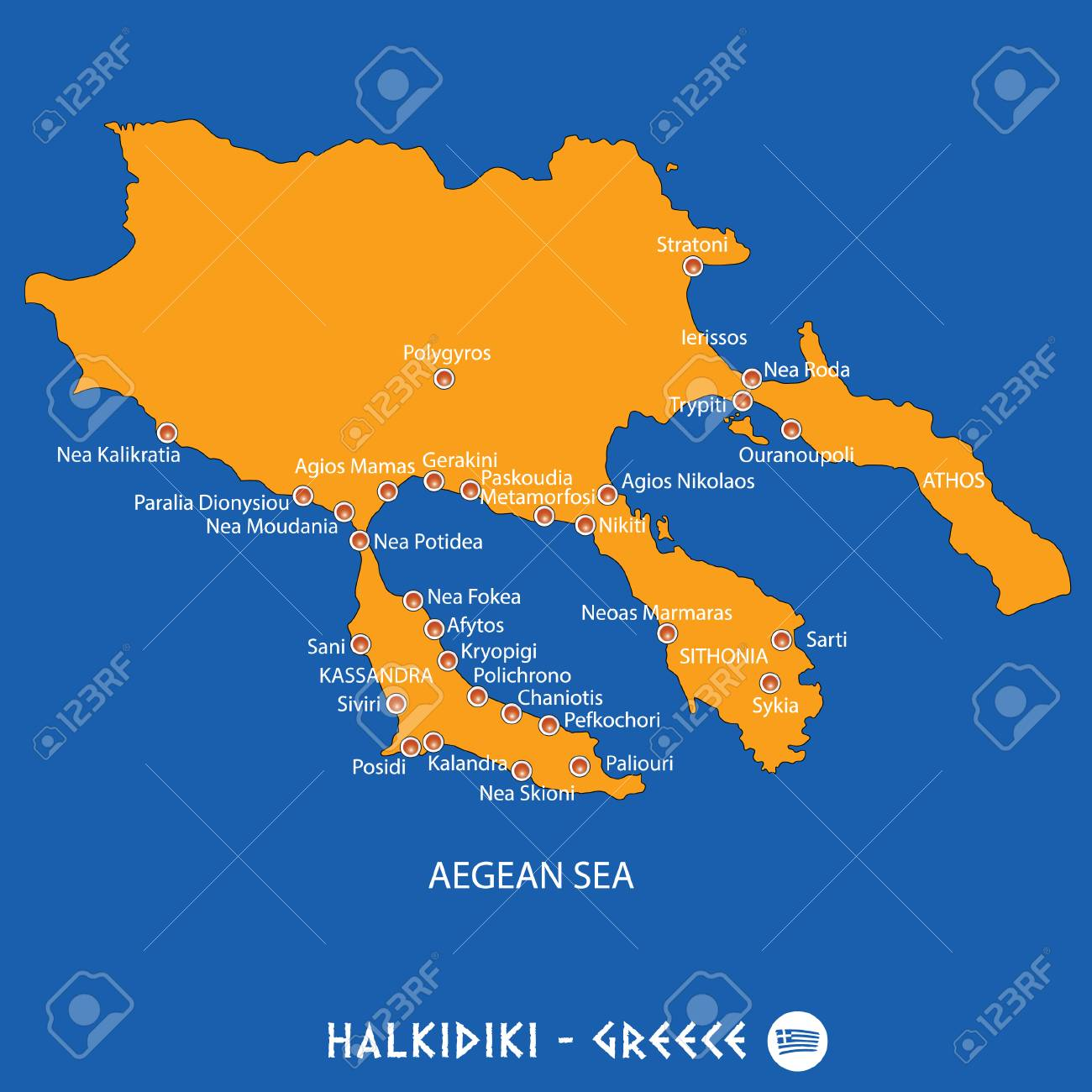 peninsula of halkidiki in Greece orange map art and blue background