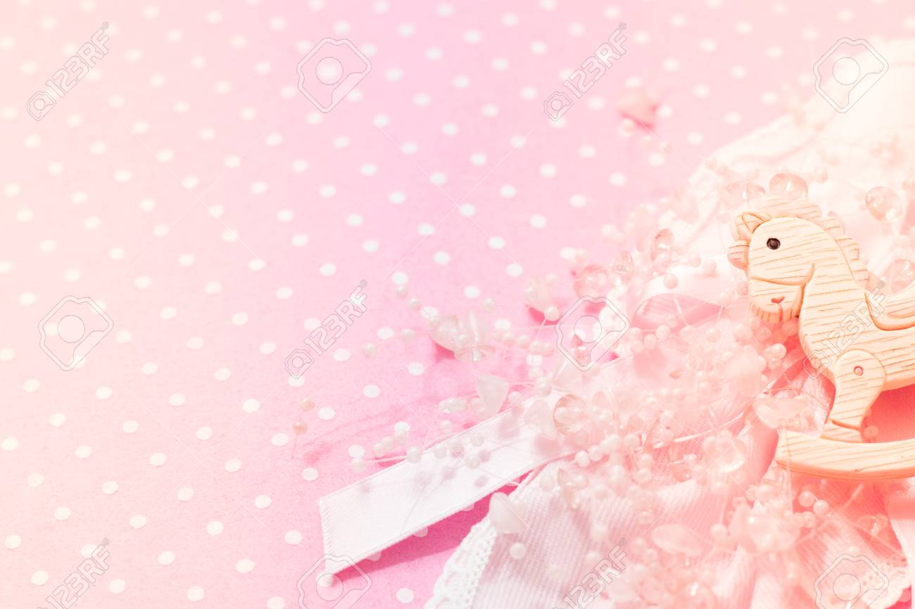 Girl Pink Felt Background Baby Shower Party With Little Rocking Stock Photo Picture And Royalty Free Image Image 97560832