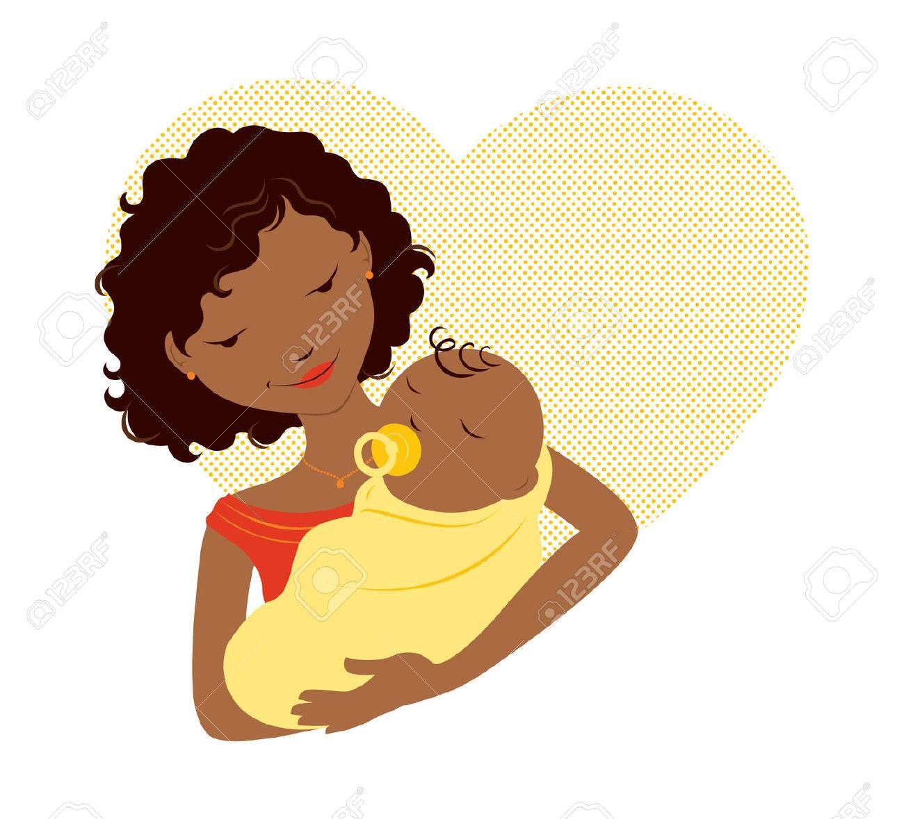 African Mother Holding Baby In Front Of A Heart Royalty Free Cliparts Vectors And Stock Illustration Image 37461063