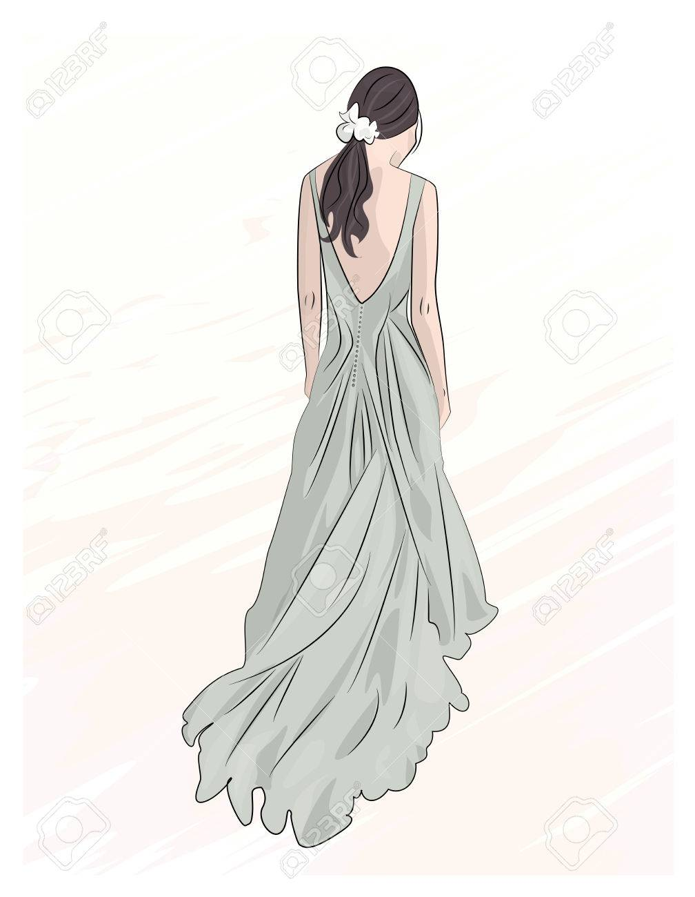 Mädchen Im Abend Lange Maxi-Kleid Abbildung Zeichnung Hochzeit ...