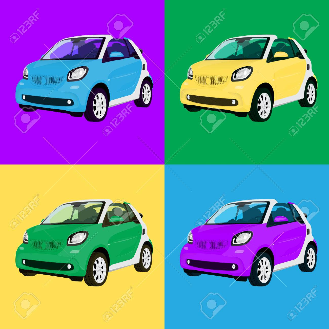 Print Four Small City Car Colors Stock Vector