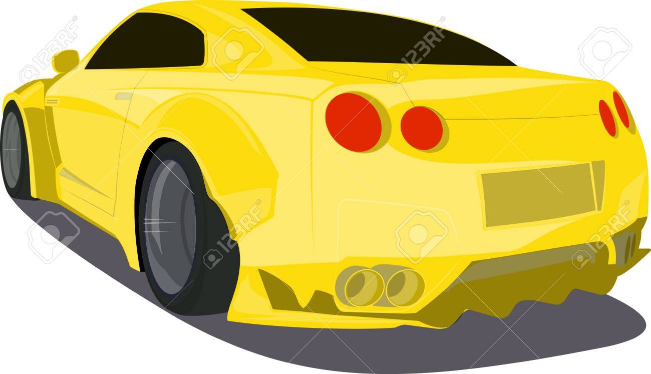Gold Cartoon Sport Car Back View Illustration Royalty Free Cliparts