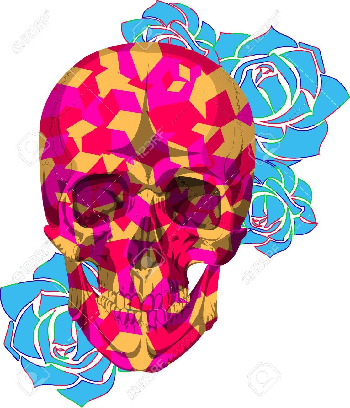 Menschliche Farben Kube Schädelknochen Skelett Tot Anatomie ...