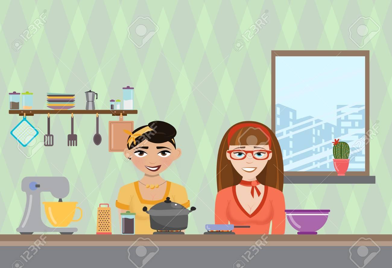 Vektor-Illustration Von Einer Frau In Der Küche Kochen. TV-Show über ...