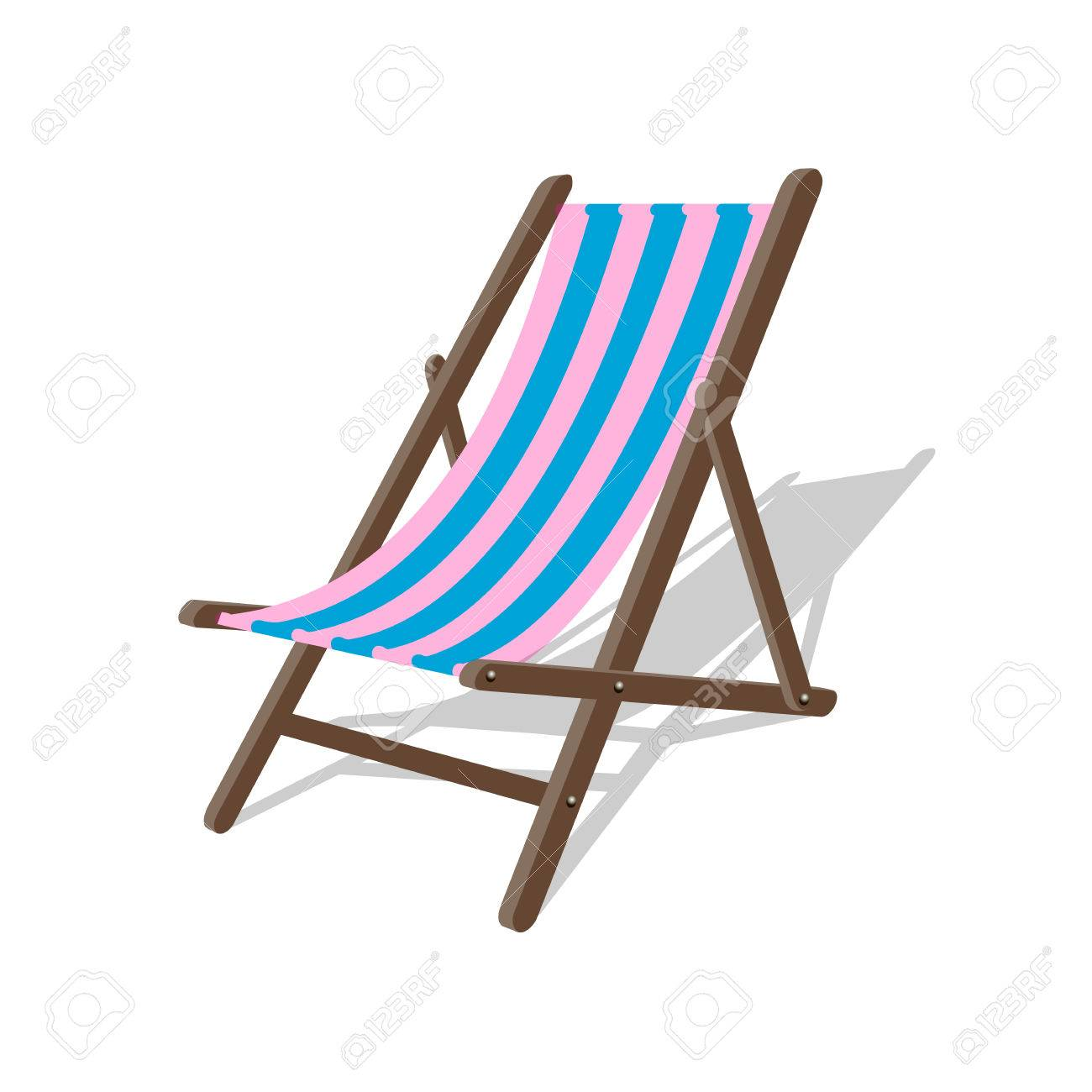 Vector   Vector Wood Beach Rest Chair. Relax Outdoor Striped Seat  Illustration. Lounge Concept Furniture. Vector Beach Sit. Resort Spa Relax  Chair.