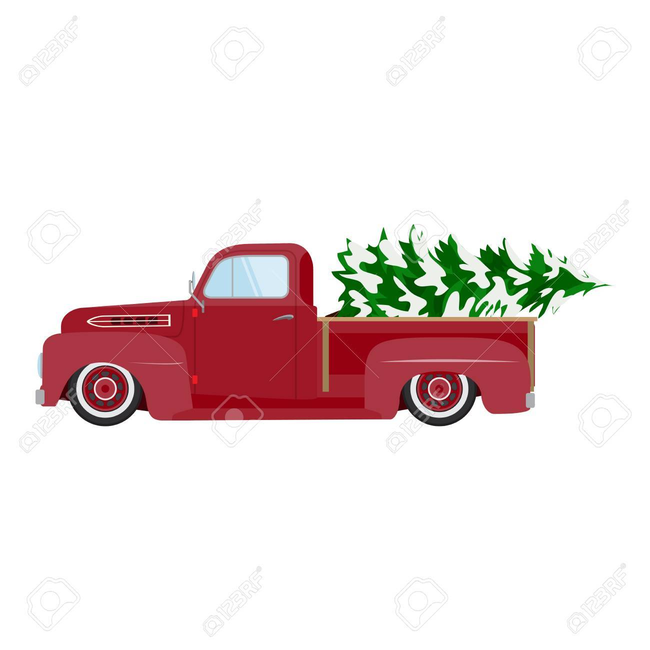 Vintage Red Car With Christmas Tree Christmas Picture Red Pickup Royalty Free Cliparts Vectors And Stock Illustration Image 68722167