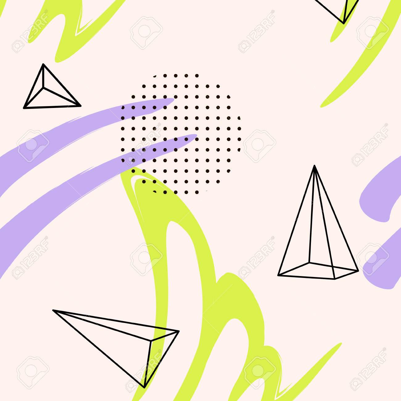 Hand Drawn Brush Textures In Violet Blue Abstract Repeating Boho Background Simple Music