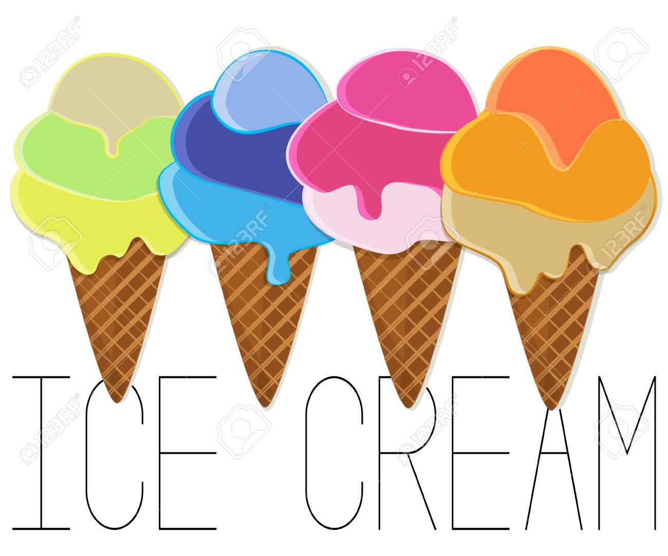 7c02df6bfdc57 Ice cream vector illustration. Gelato cartoon collection. Kids..