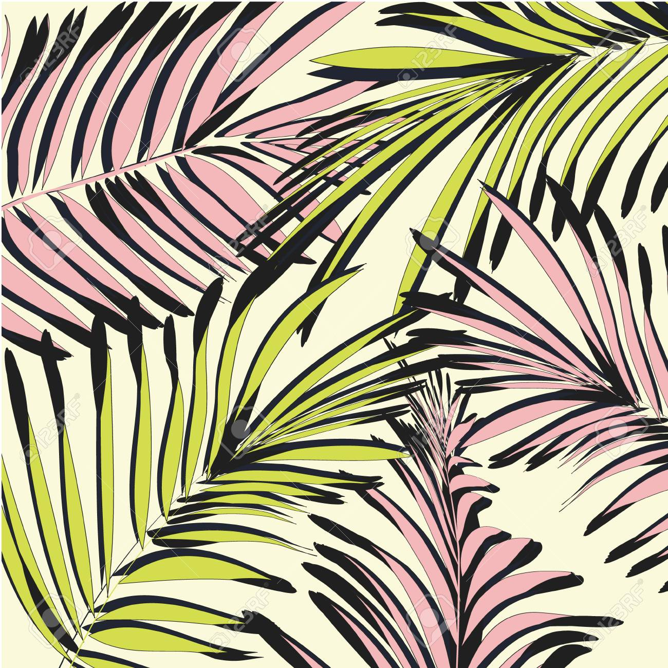 Vector Yellow Pink Palm Leaves Beach Exotic Summer Print Tropical