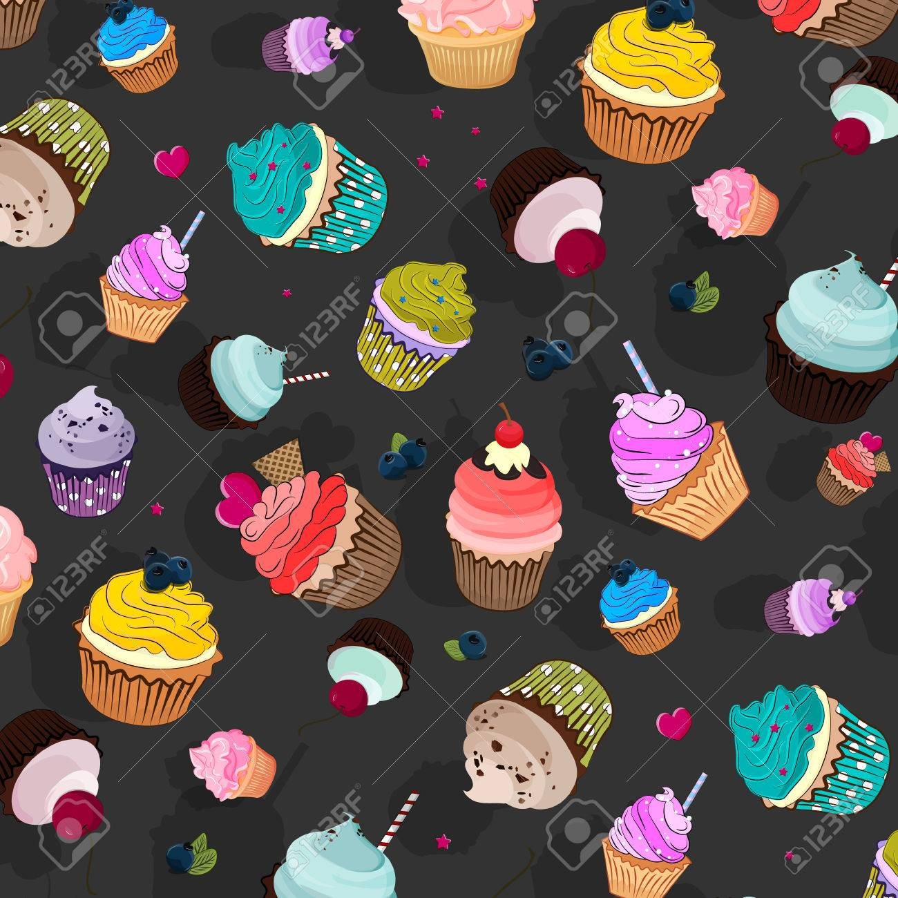 Cupcake Delicious Dessert Sweet Decorated Cakes With Muffin Cartoon Wallpaper Texture