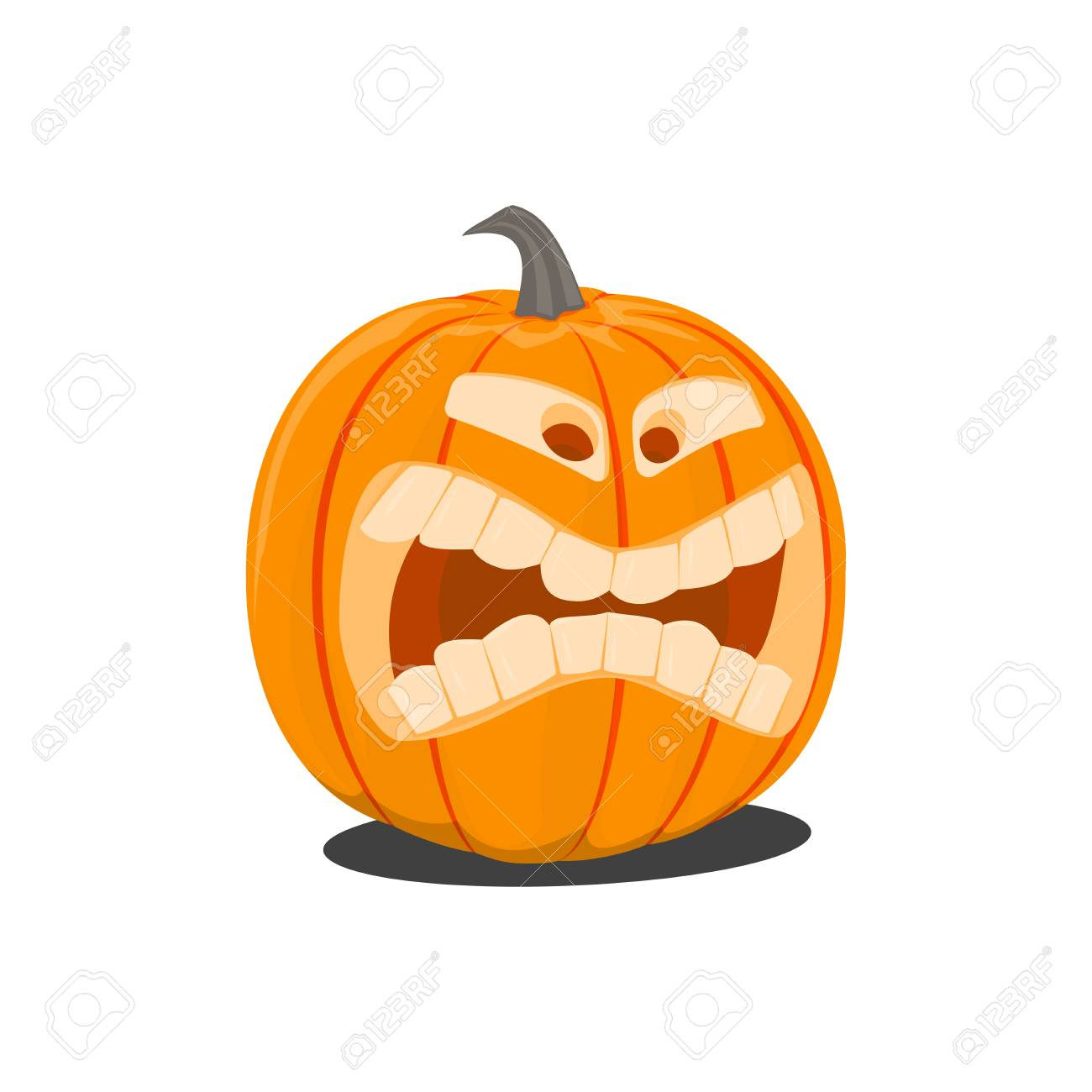Vector Color Illustration Of Cartoon Halloween Pumpkin With Face