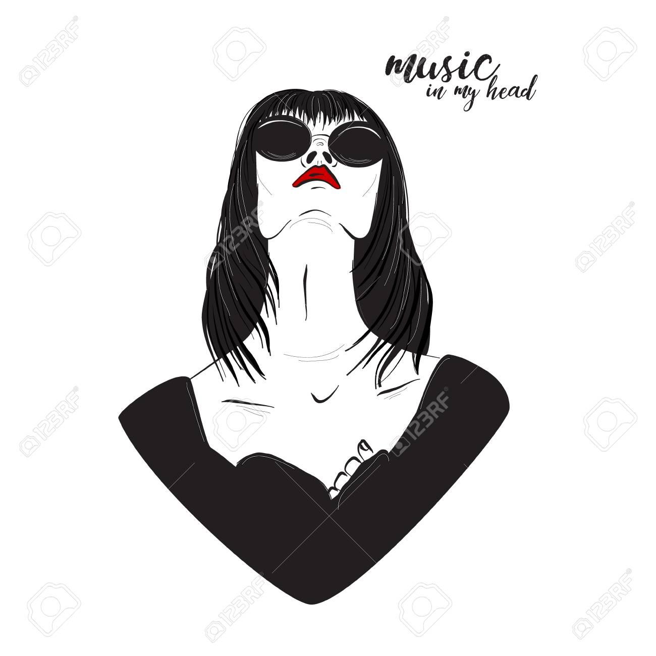Musique Dans Mon Art Vectoriel De Coeur Dessin Au Trait Noir Blanc De Femme Avec Des Lèvres Rouges Portant Des Lunettes De Soleil Refroidir Les
