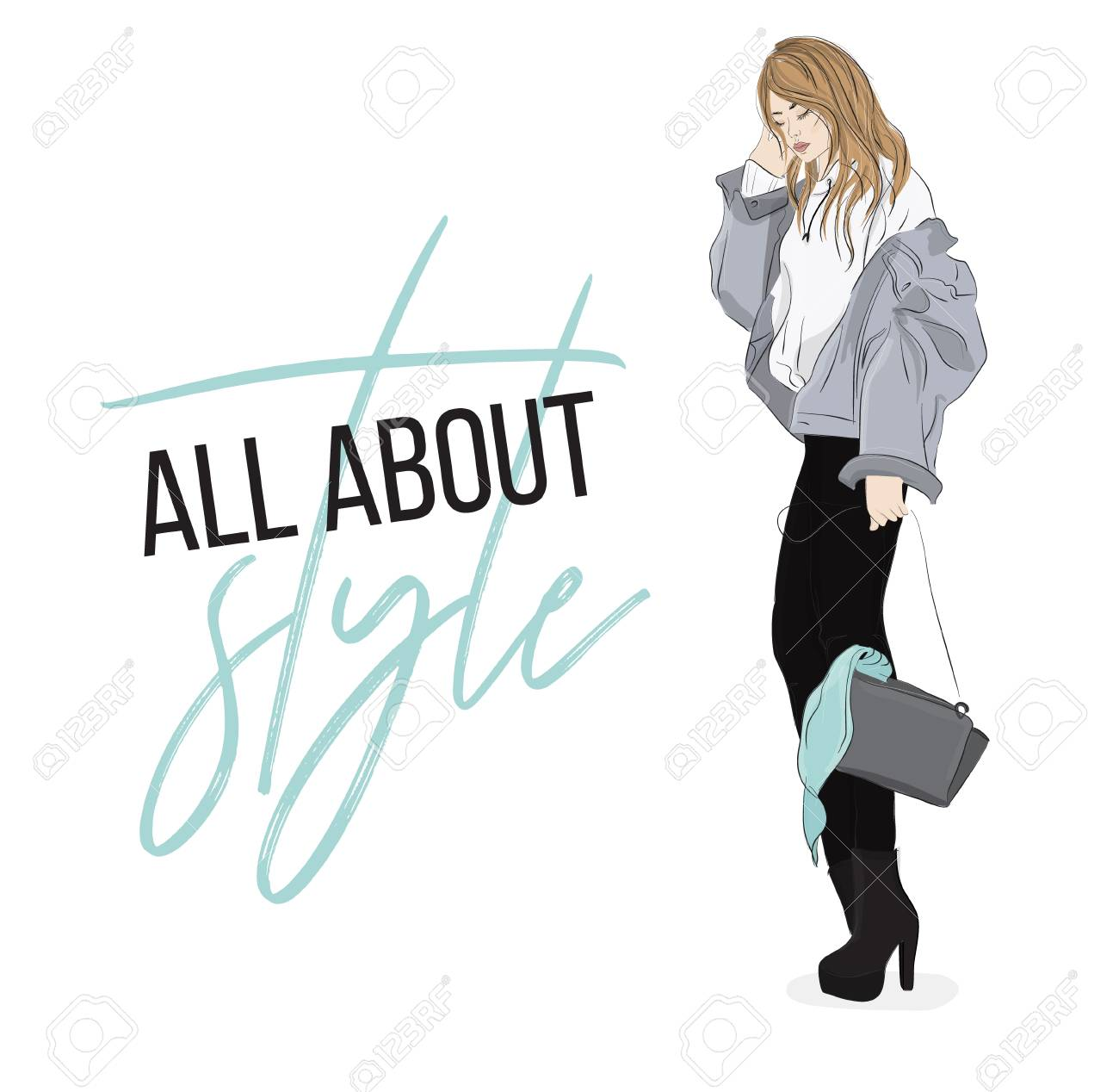 Fashion Illustration Casual Look Outfit Woman In Denim Jacket