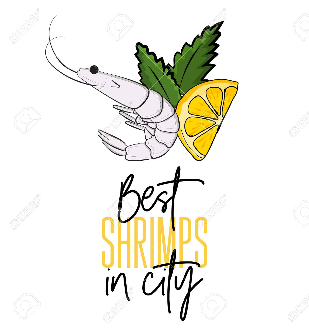 vector best shrimps in city illustration seafood cooked menu rh 123rf com Seafood Plate Clip Art Seafood Cartoon Clip Art
