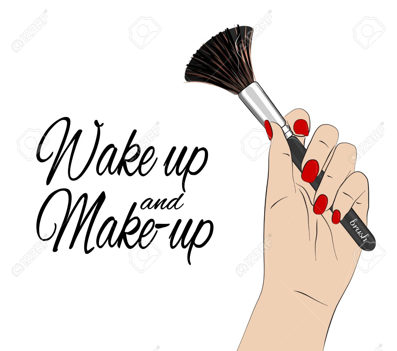 Wake Up And Make Up Quote Vector Beauty Poster Hand With Red