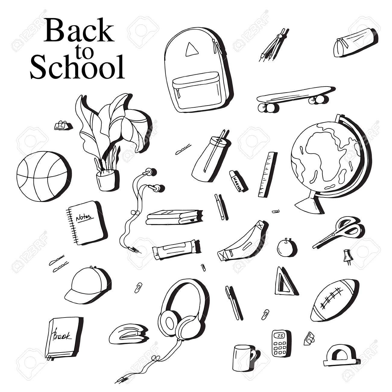 back to school sketch elements black white education equipment High School Layout back to school sketch elements black white education equipment pen notebook calculator