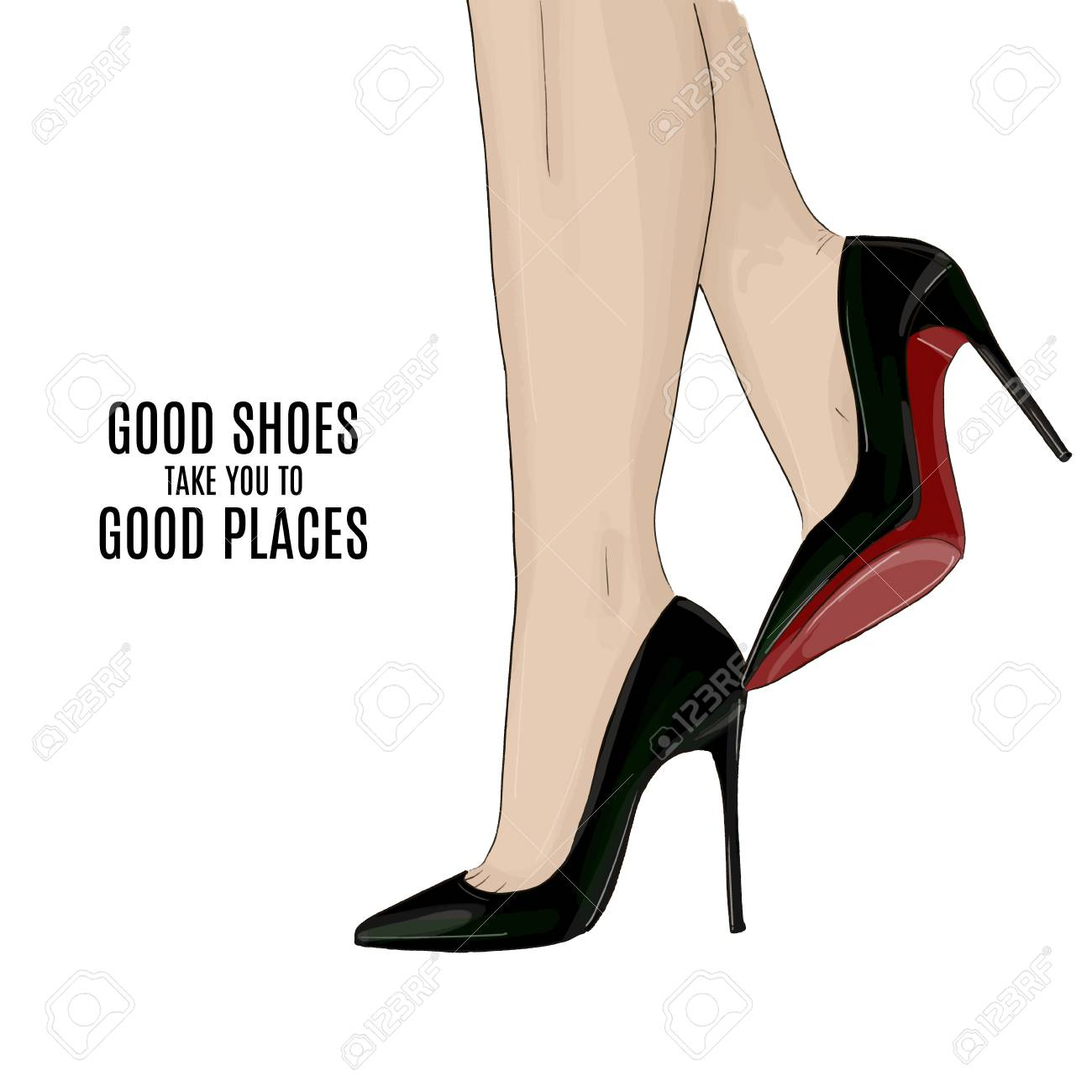 Woman beautiful legs on stileto high heels shoes fashion illustration