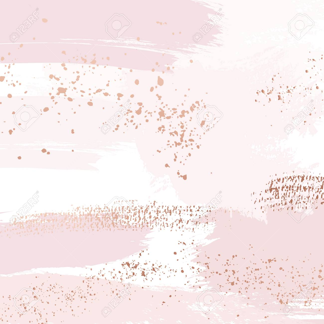 Vector Nude rose brush strokes with golden sparkles pattern, luxury outline decoration. Pastel pink delicate art background - 121896565