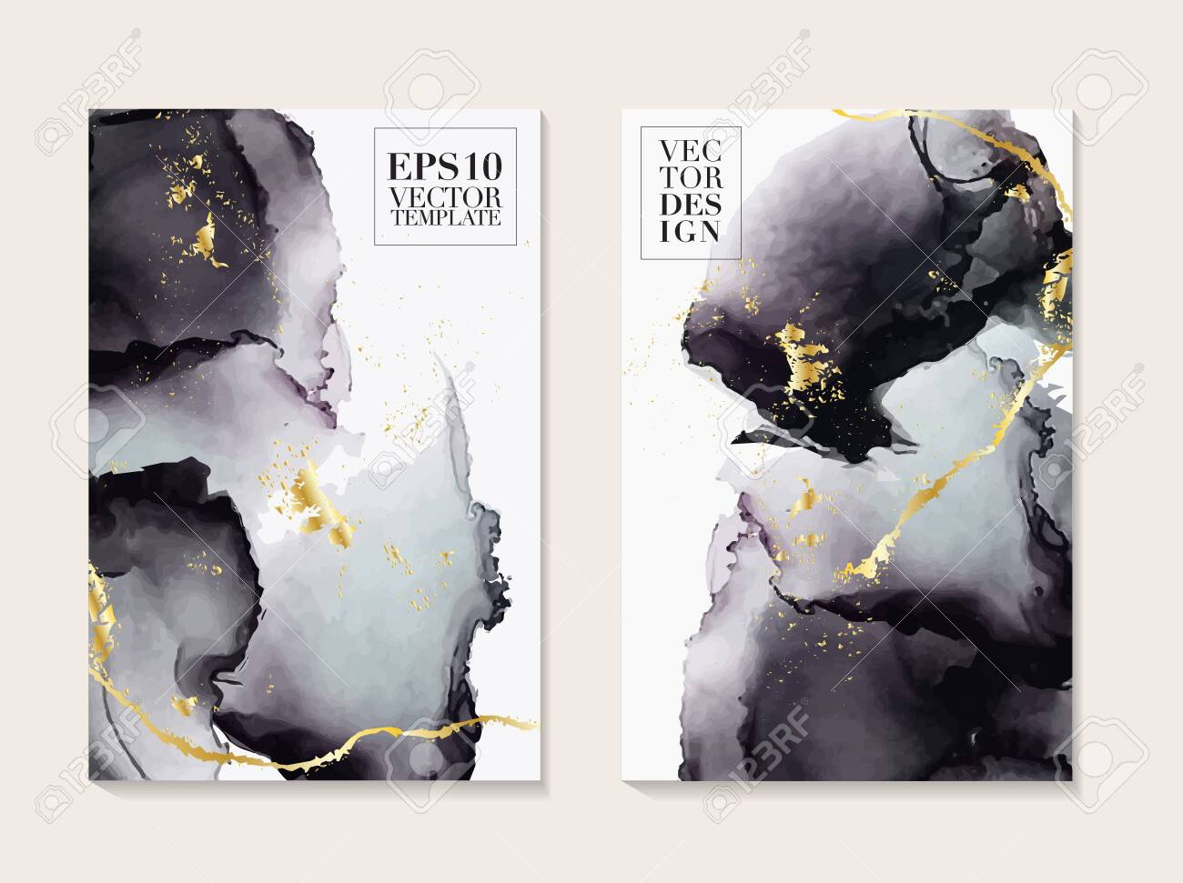 Liquid flow dark grey and gold vector design. Trendy Marble background, Alcohol ink texture design in shades of black and golden texture vector temple - 126405699
