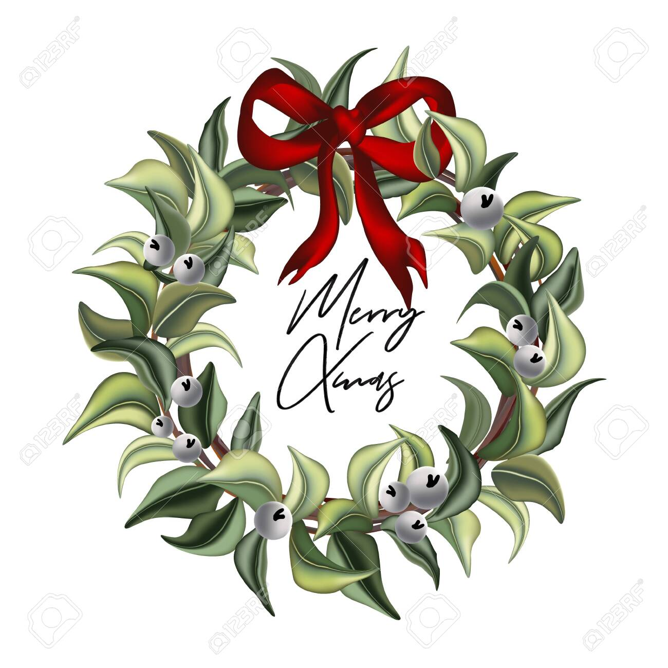 Merry Christmas Hand Drawn Watercolor Leaves Of Evergreen Winter Royalty Free Cliparts Vectors And Stock Illustration Image 130588465