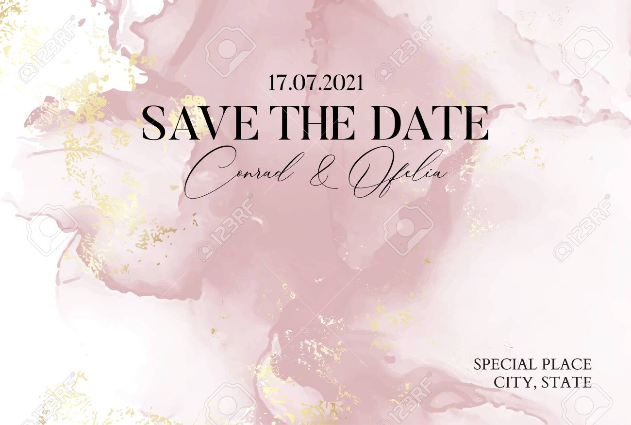 Hand-drawn marble texture in soft pink colors with watercolor fluid ink and golden foil glitter. Chic business cover, Save the Date card - 133591818