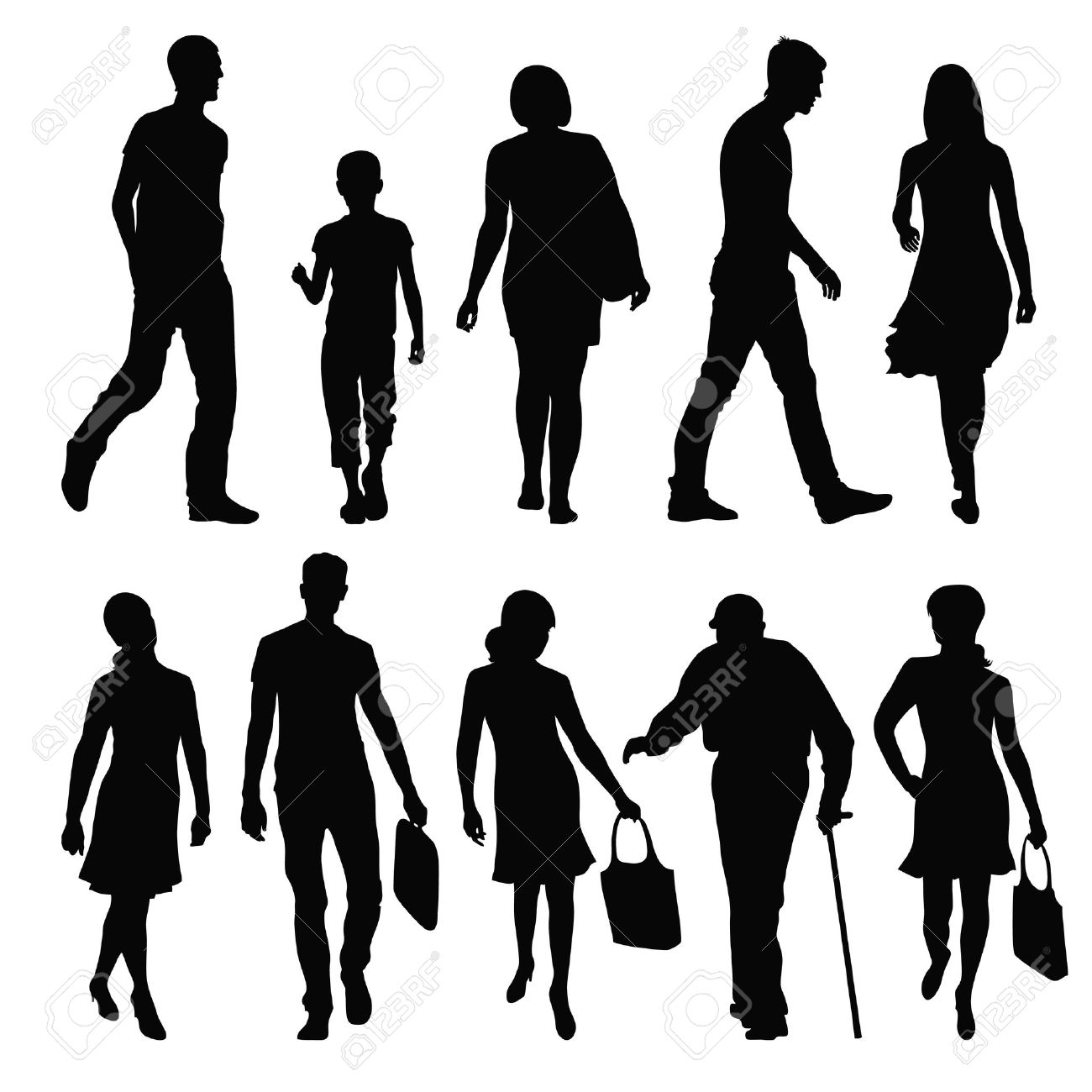 silhouettes of people in different poses Stock Vector - 24687948