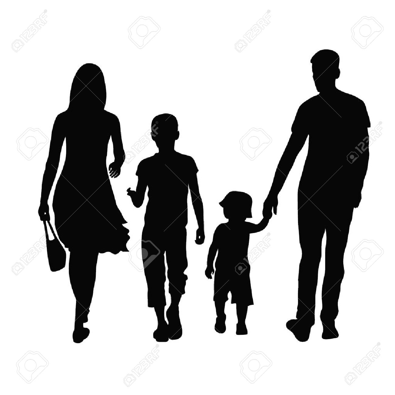 Silhouette of parents and children Stock Vector - 24687954
