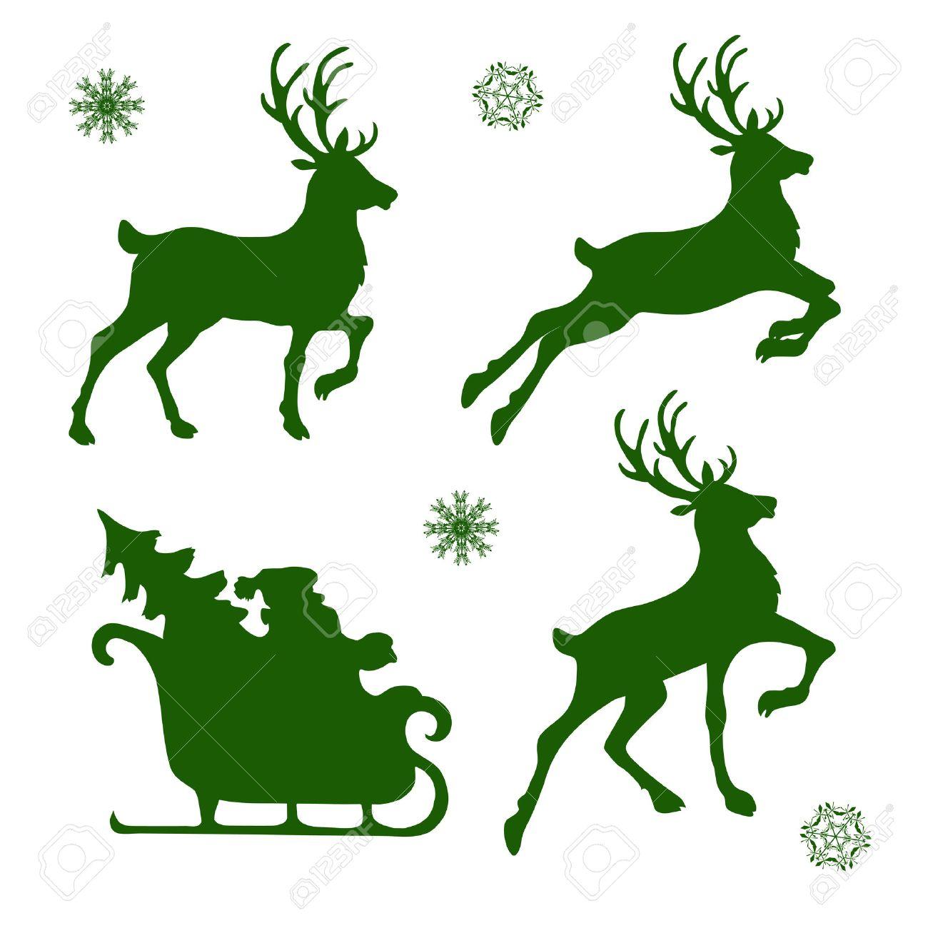 Christmas Reindeer Silhouette.Set Of Silhouettes Of Christmas Reindeer And Santa