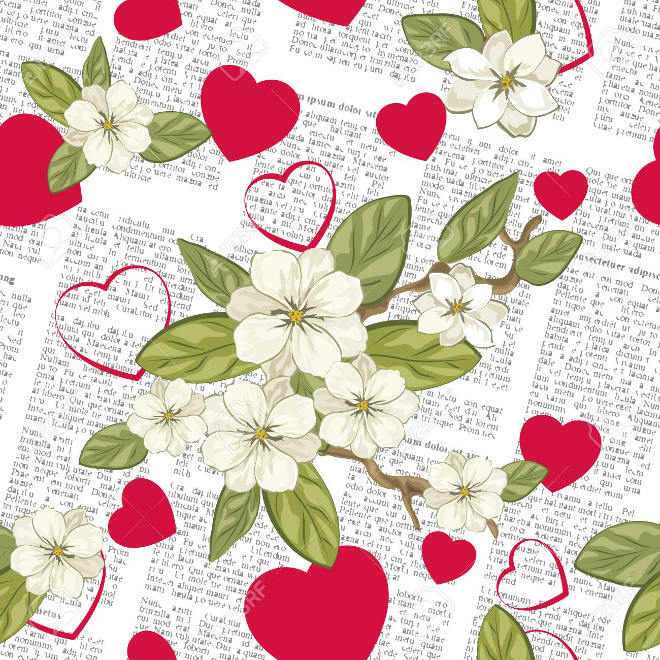 Celebratory Spring Background With Newspaper Flowers And Hearts