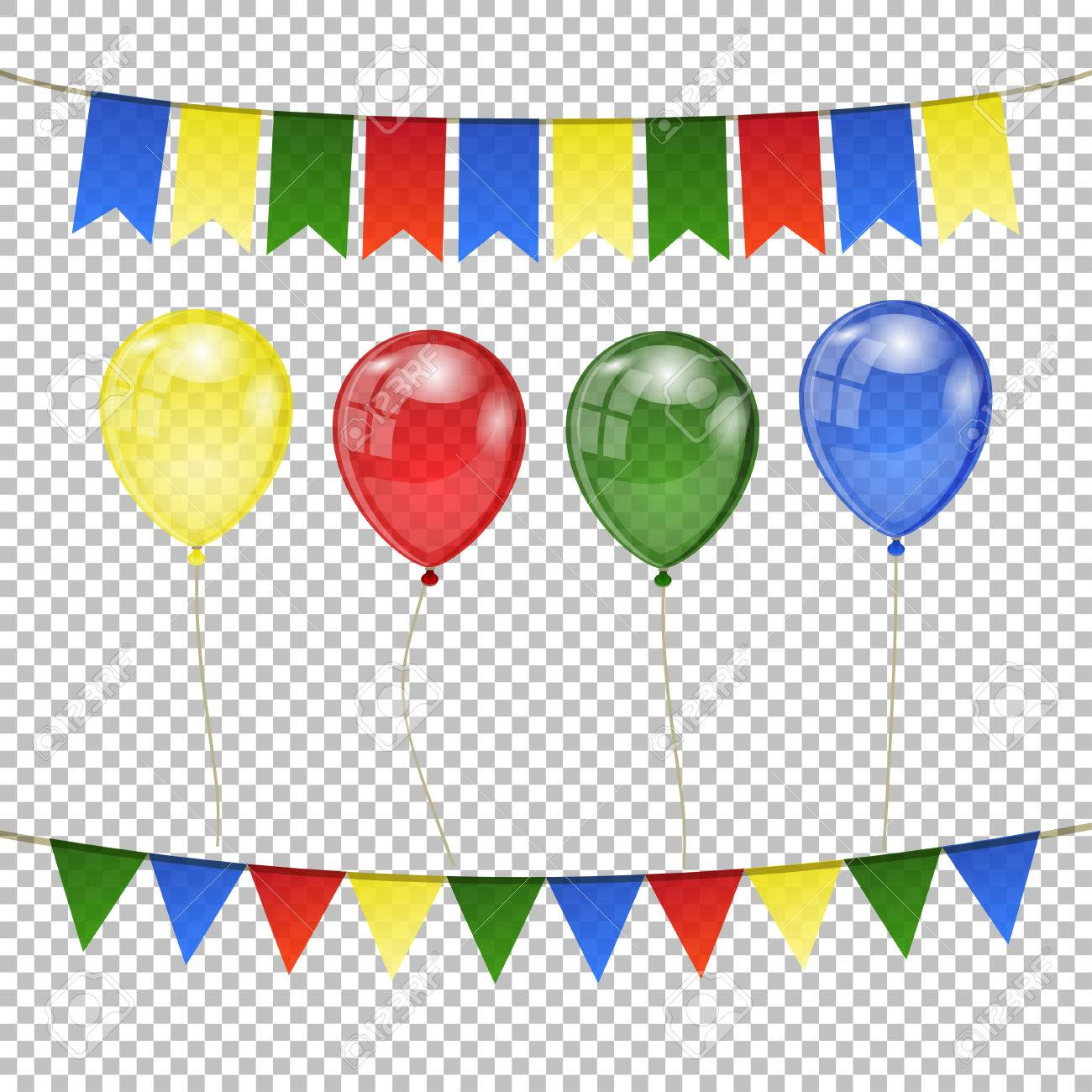 Set Of Colorful Balloons And Flags On Transparent Background