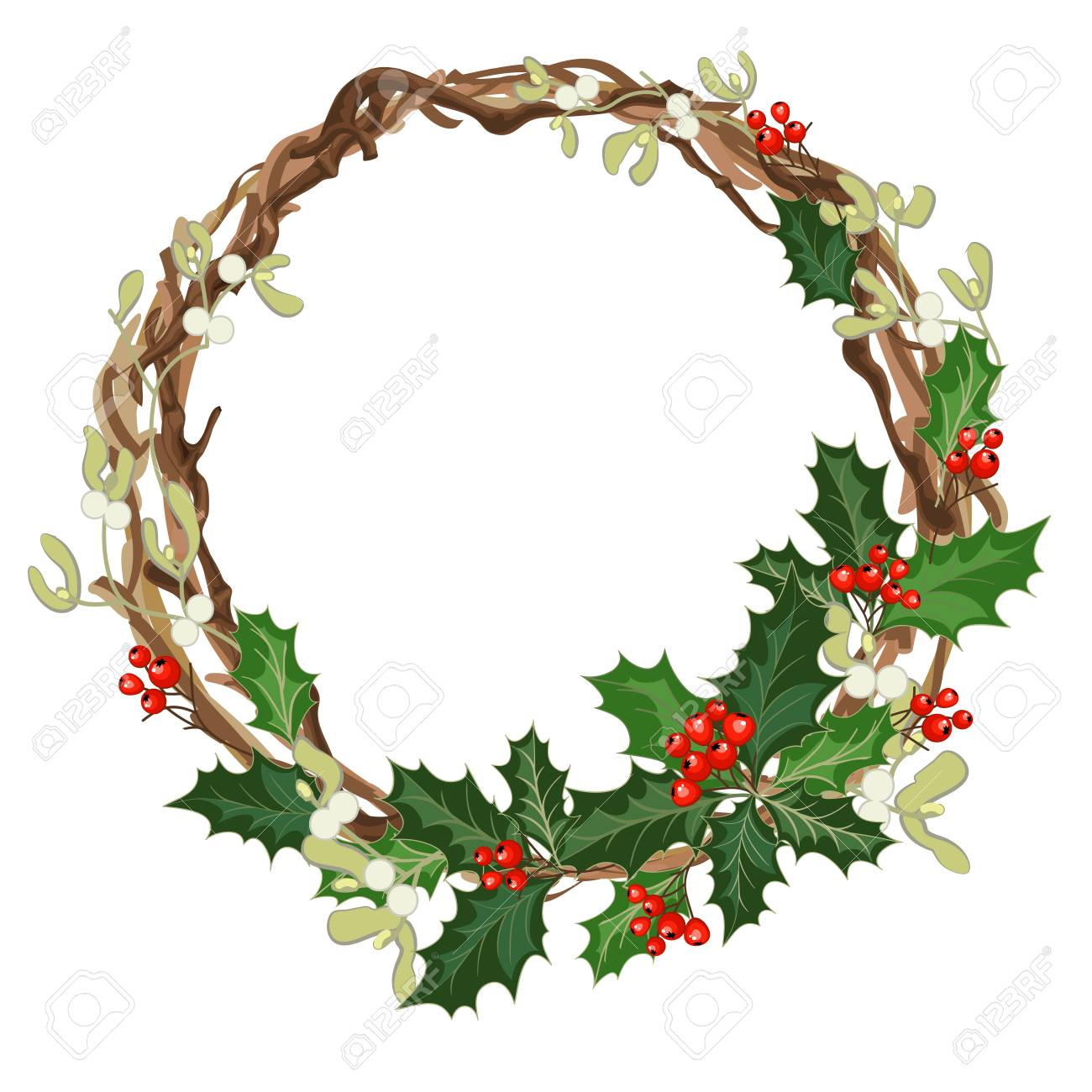 christmas decorations with holly berries mistletoe and decorative elements design element for christmas