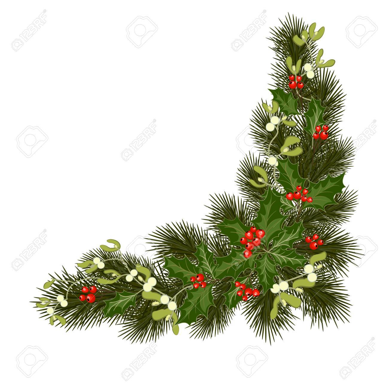 christmas decorations with fir tree holly berries mistletoe and decorative elements design