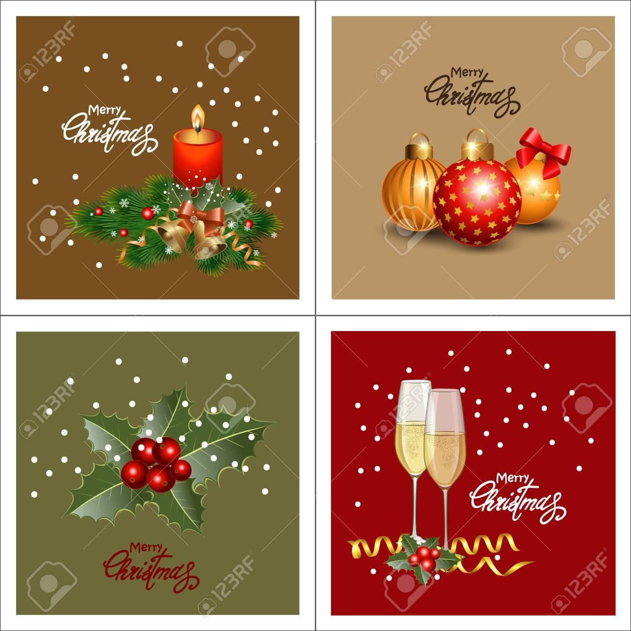 Set Weihnachtsgrußkarten. Sammlungsfeiertagshintergründe Für Frohe ...