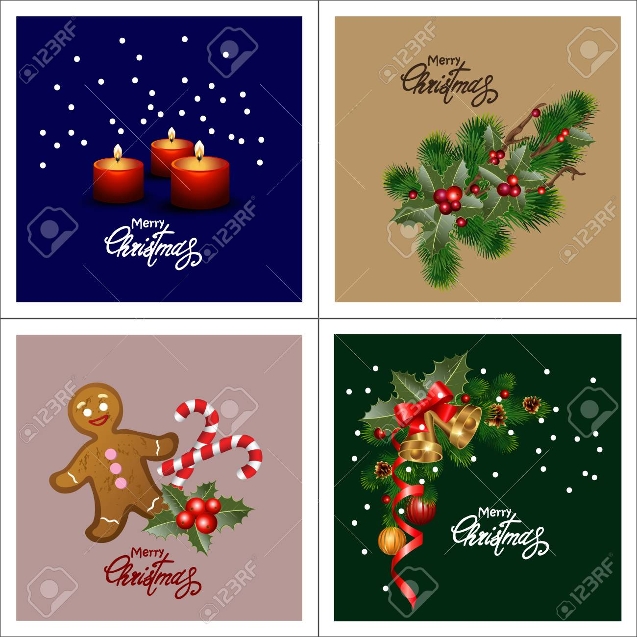 Set Of Christmas Greeting Cards. Collection Holiday Backgrounds ...