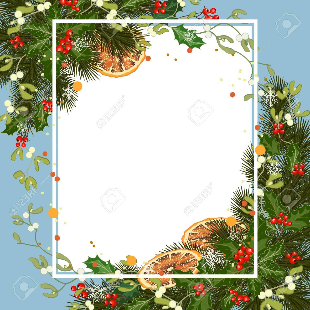 Merry Christmas Greeting Card With Traditional Decorations And ...