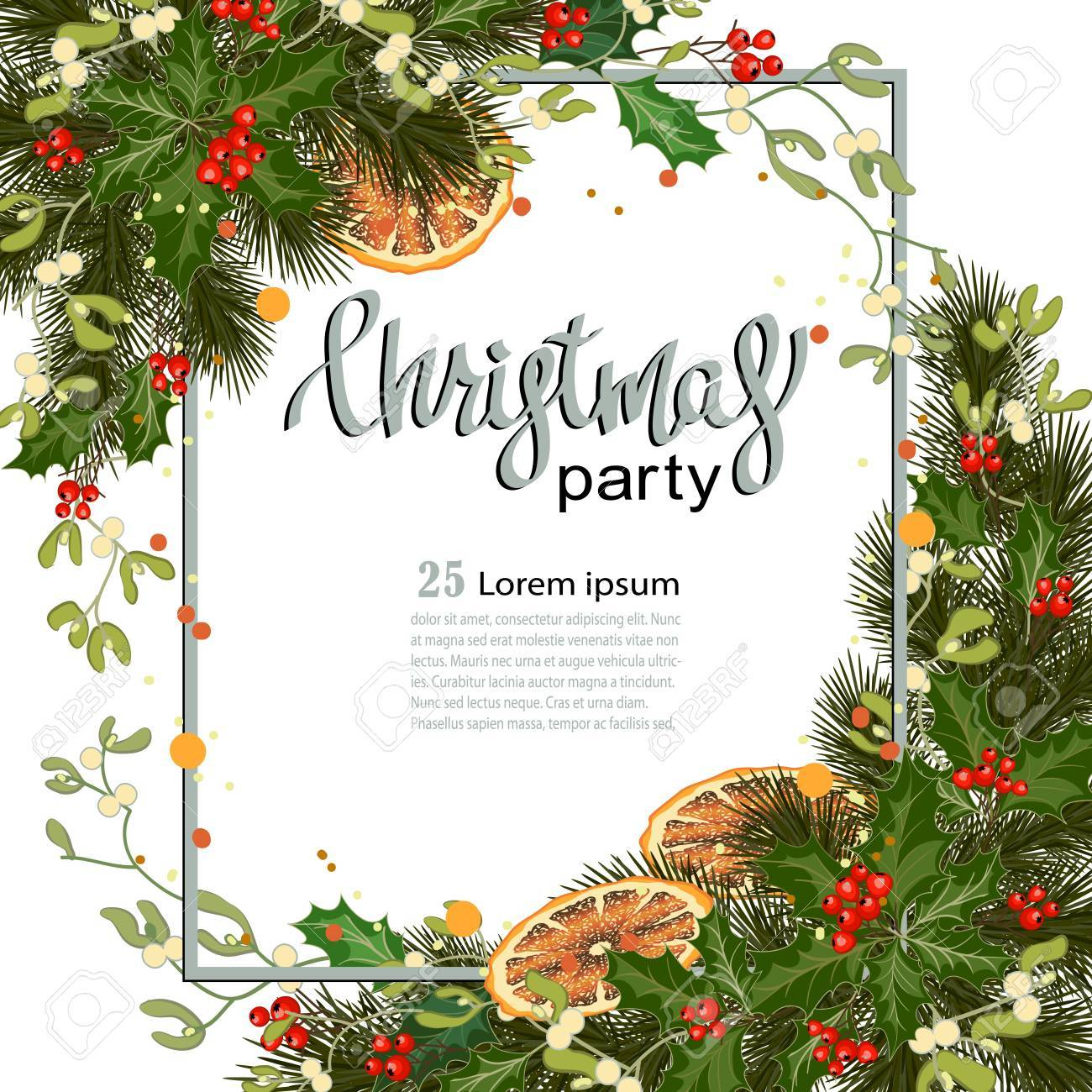 Merry christmas greeting card with traditional decorations and merry christmas greeting card with traditional decorations and place for message christmas background with branches kristyandbryce Gallery