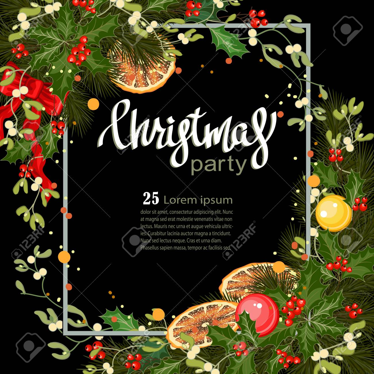 Merry Christmas Greeting Card With Traditional Decorations And Royalty Free Cliparts Vectors And Stock Illustration Image 89667185