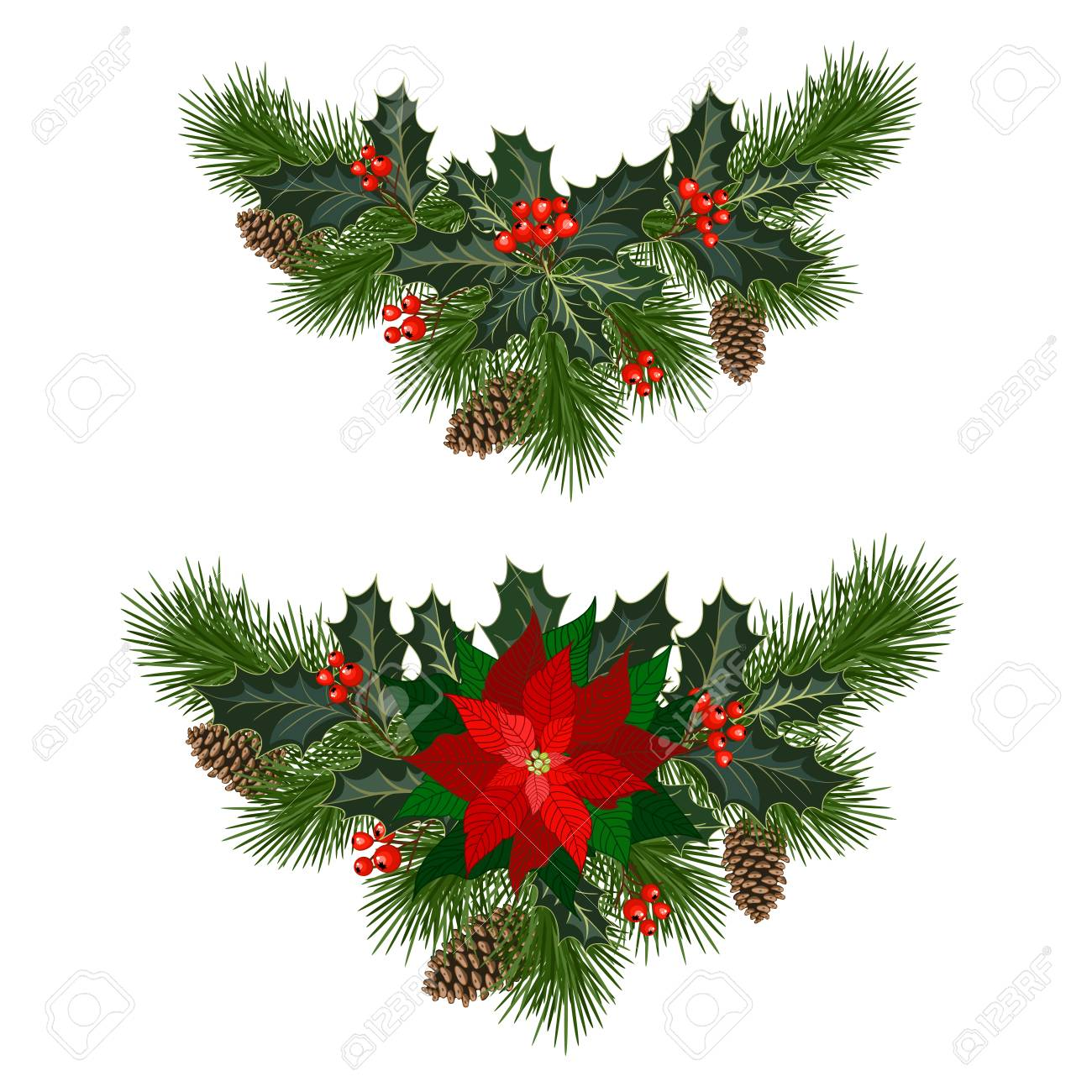 christmas decorations with poinsettia fir tree pine cones holly berries and other
