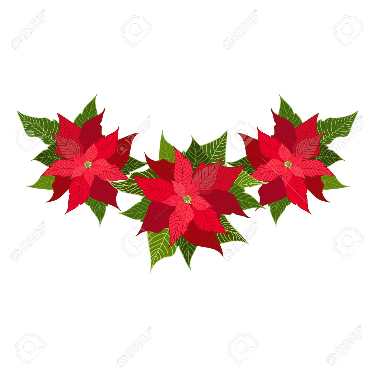 Christmas Decorations With Poinsettia Design Element For