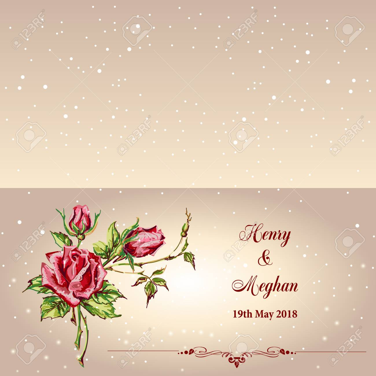 Wedding card with roses vector illustration on plain background vector wedding card with roses vector illustration on plain background m4hsunfo