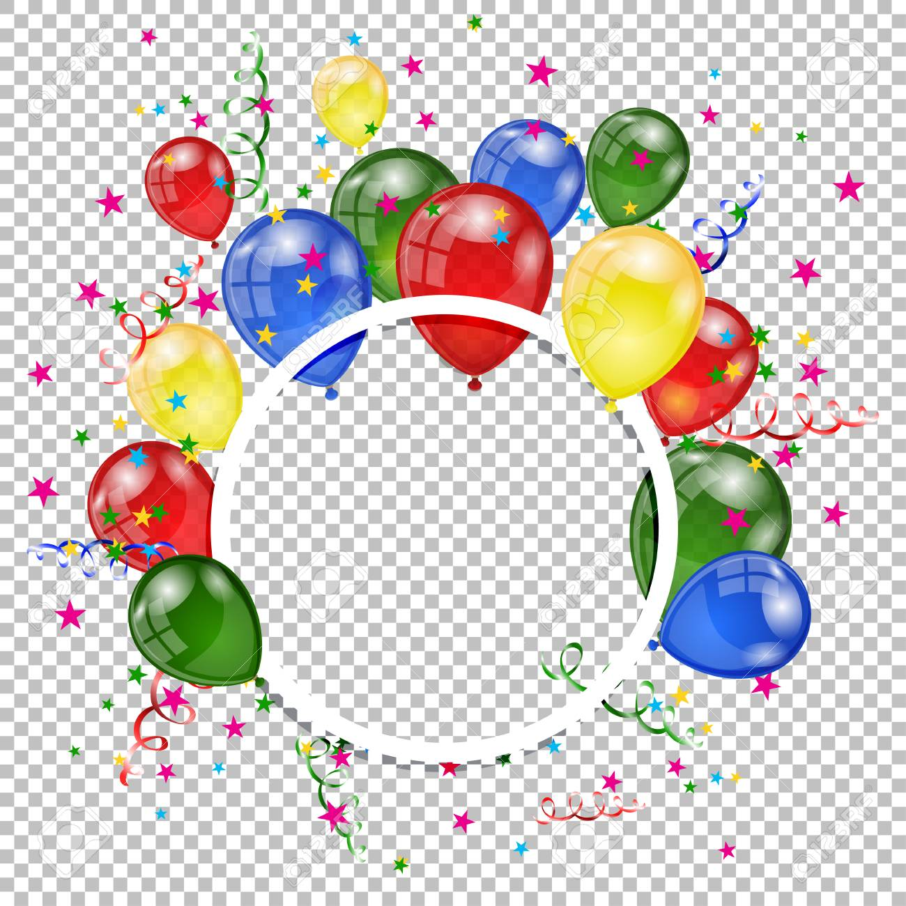 Balloons On A Transparent Background Happy Birthday Greeting Card Vector Illustration Stock