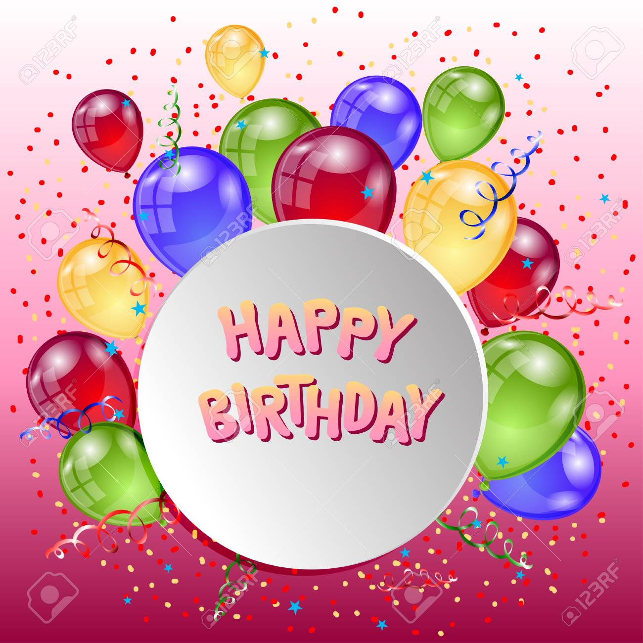 Happy Birthday Greeting Card Background With Balloons Holiday