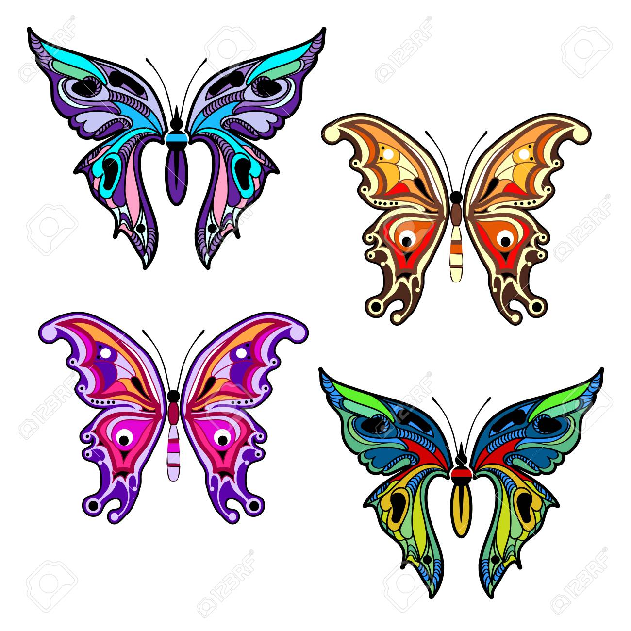 Bright Colorful Butterflies Set Of Filigree Multicolored
