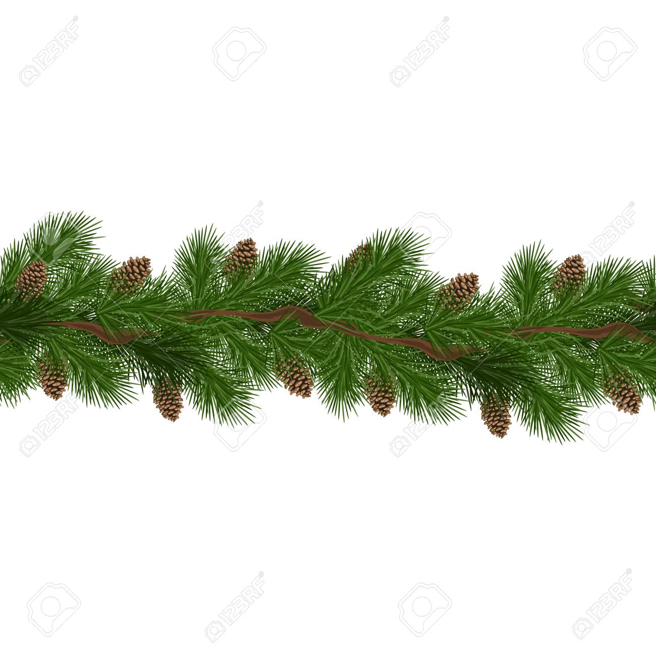 Christmas decorations with fir tree and pine cones. Design element for Christmas decoration. Vector illustration - 110480890