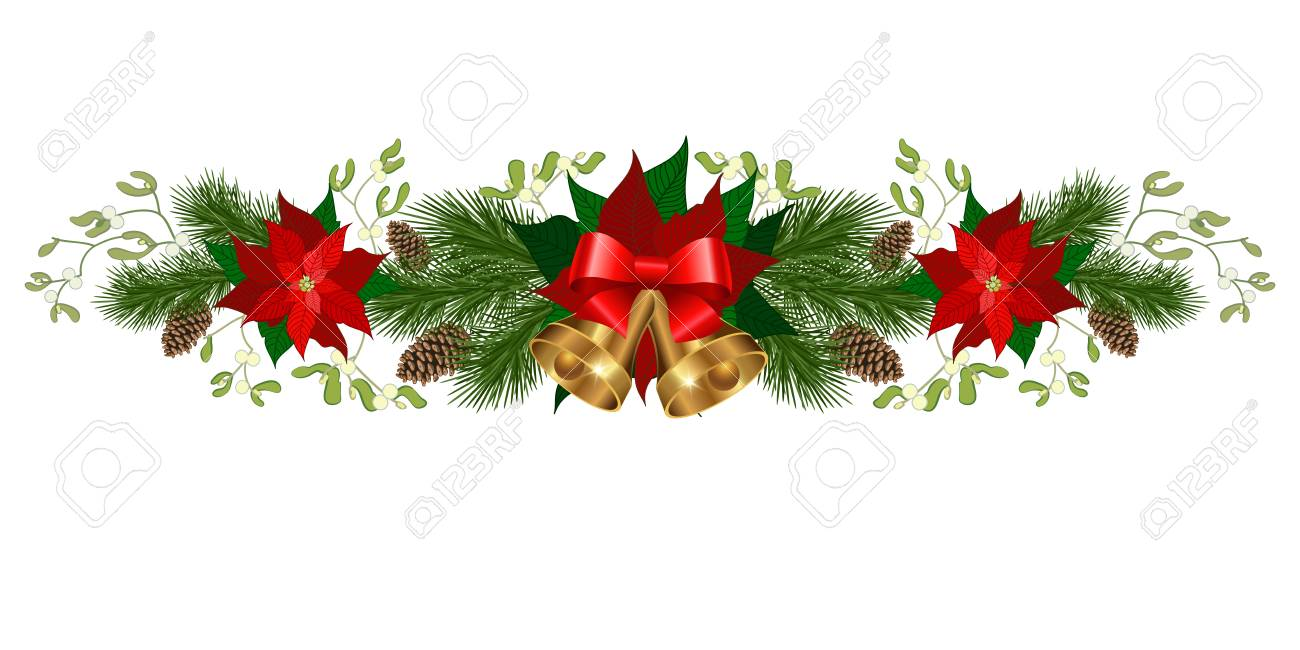 christmas decorations with bells poinsettia fir tree pine cones mistletoe and decorative