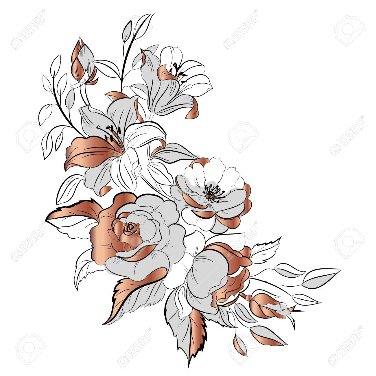 Bouquet Of Flowers Drawn Ink And Rose Gold Figure Black Lines Royalty Free Cliparts Vectors And Stock Illustration Image 146196338