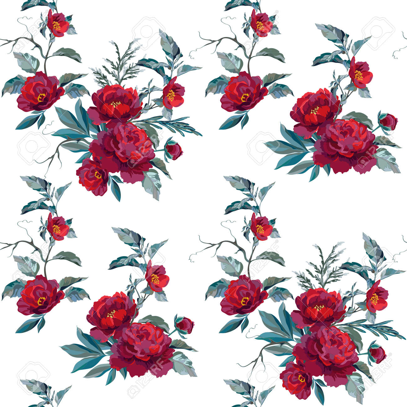 Vector material swatch with dark peonies, blue leaves and decorative branches. Vector illustration. - 167360895