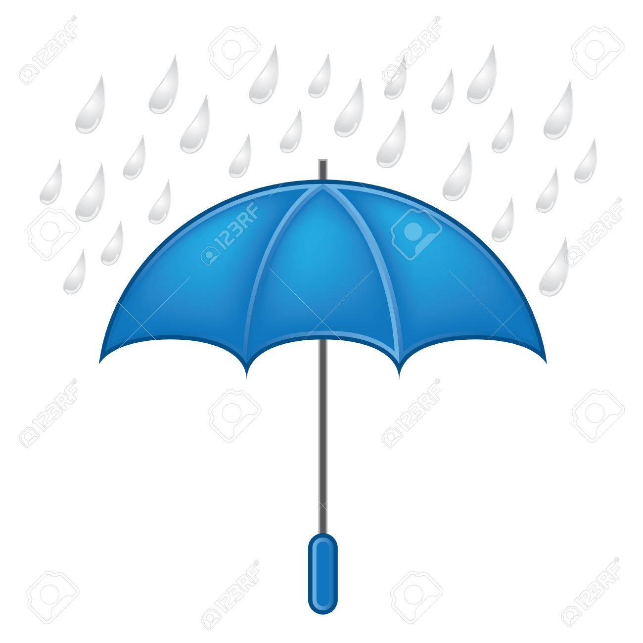 Weather Symbols Vector Set Umbrella With Rain Royalty Free Cliparts