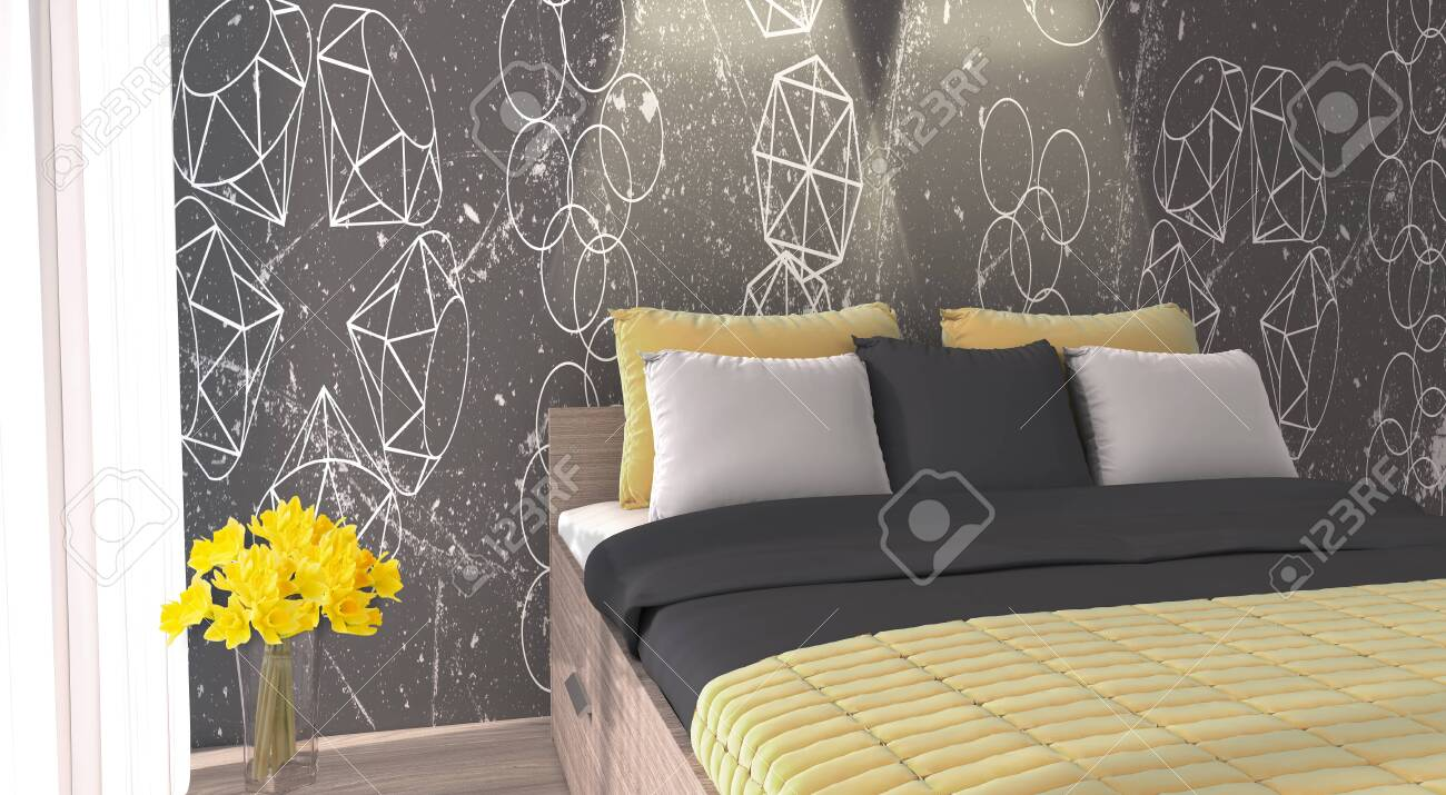 3d Render Of Yellow Color Inspired Modern Bedroom With Unique